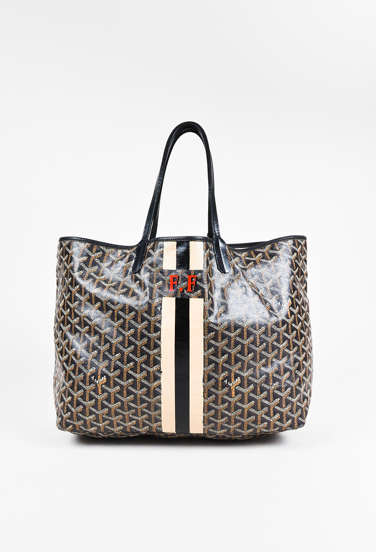 Goyard Black Coated Canvas Leather Chevron Print Monogram St Louis - How to create a paypal invoice goyard online store