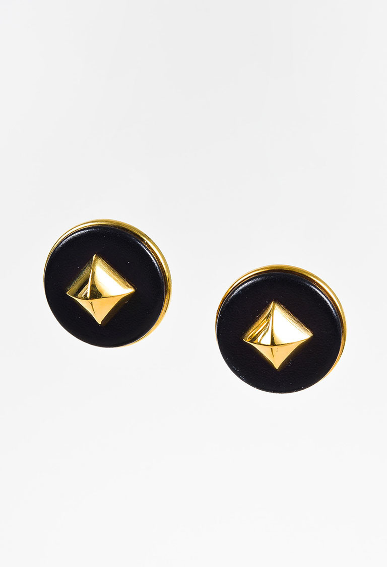 """Medor"" Black Gold Plated Leather Pyramid Stud Clip On Earrings"