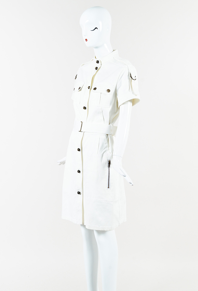 Cream Denim Short Sleeve Belted Military Cargo Dress