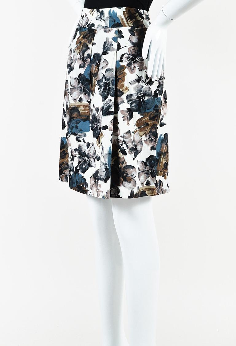 Cream Blue Brown Cotton Floral Printed Pencil Skirt