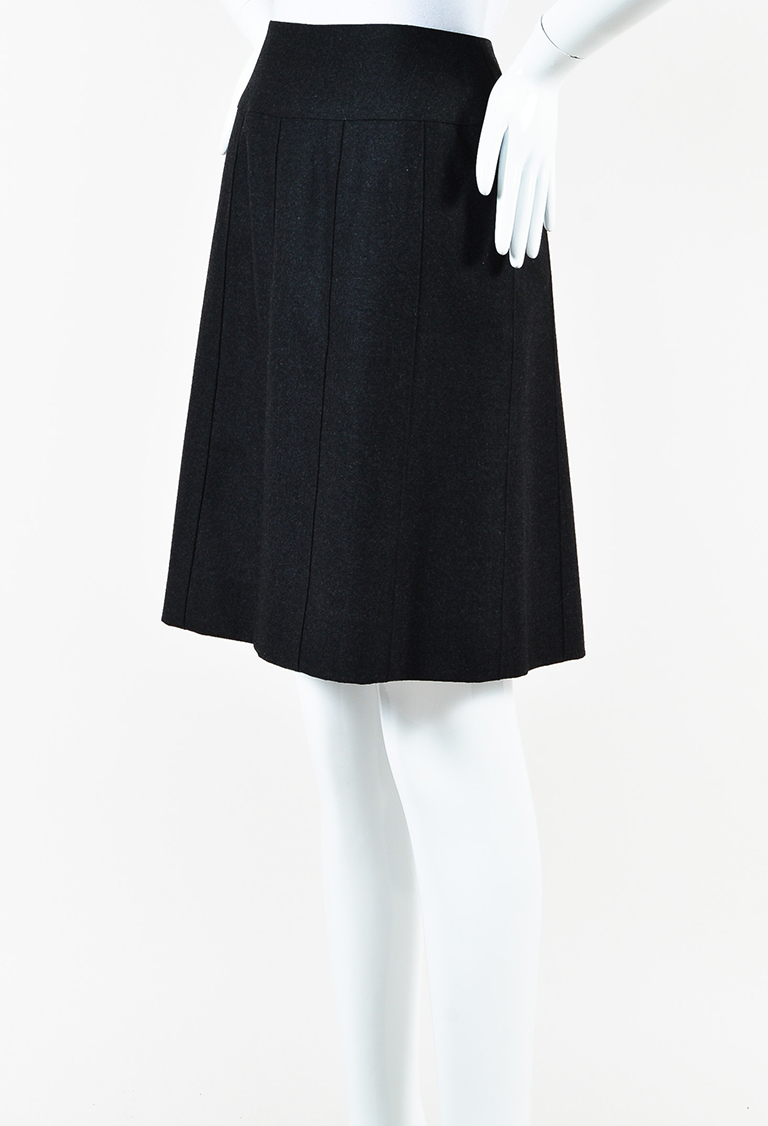 Boutique Vintage 97A Charcoal Grey Wool A Line Skirt