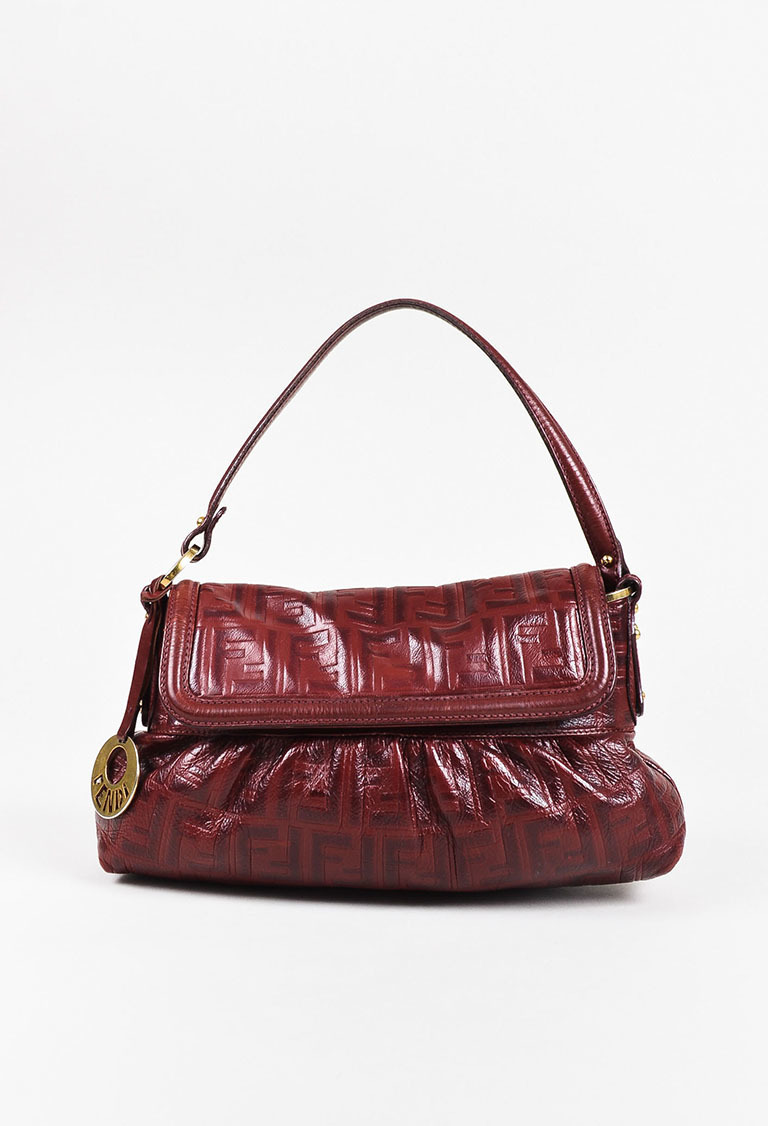 """Red Leather 'FF' Zucca Embossed """"Chef"""" Handbag"""