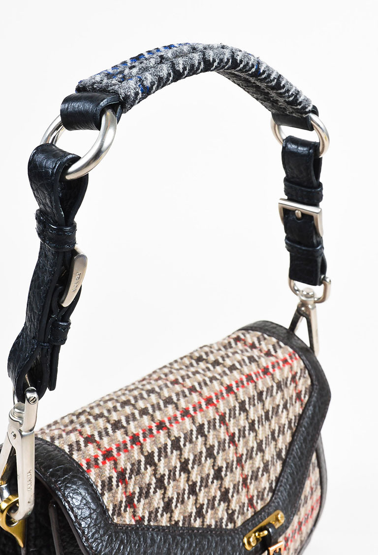 3693625079 Prada Brown Red Gray Tweed Leather Trim Houndstooth Flap