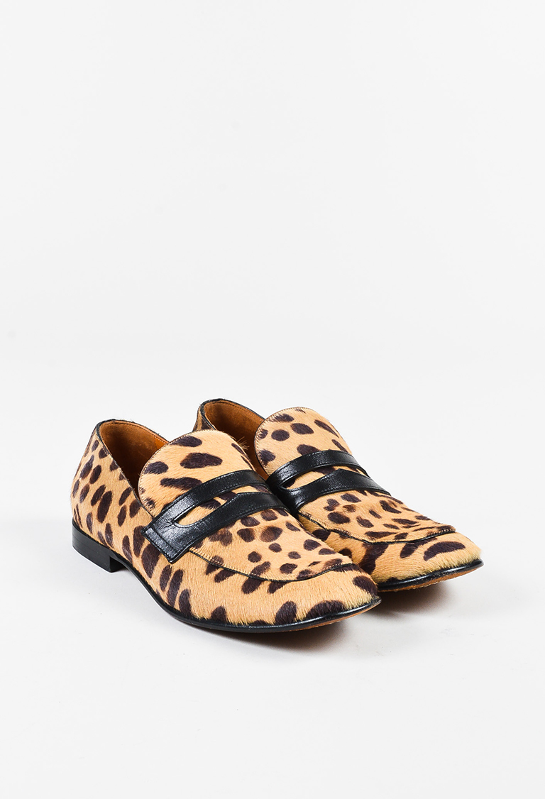 Tan Brown Pony Hair Leopard Print Loafers