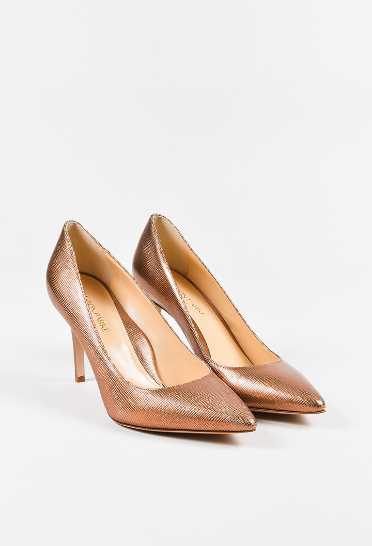 """Rose Gold Saffiano Leather Pointy Toe """"Mary"""" Pumps"""