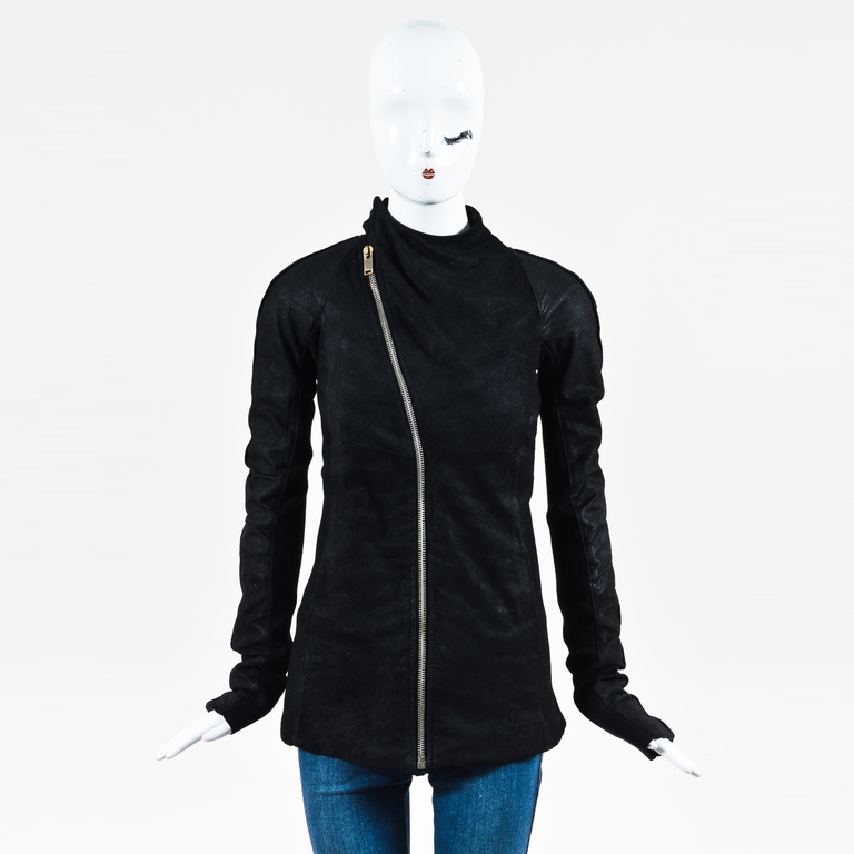 Rick Owens Black Suede Ribbed Knit Front Zip LS Motorcycle Jacket