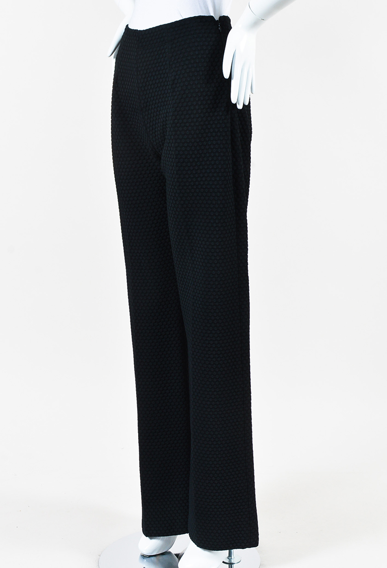 Black Polka Dot Ribbed Knit High Waist Trouser Pants
