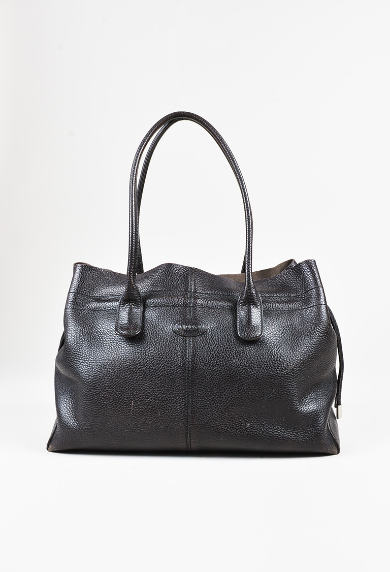 """""""D-Bag"""" Brown Grained Leather Drawstring Tote Bag"""