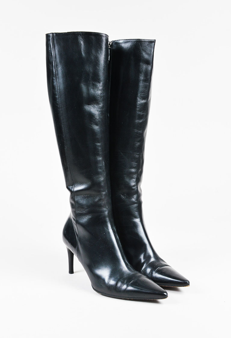 gucci black leather pointy toe mid heel knee high boots sz