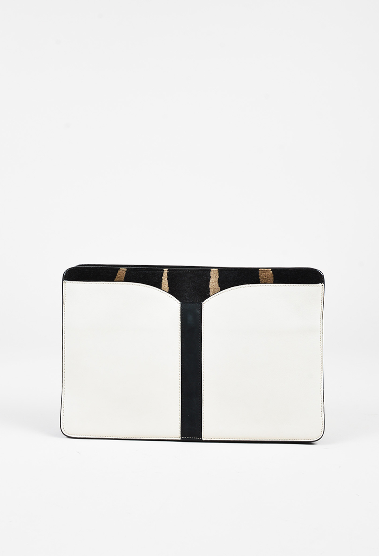"Cream Calf Hair Leather ""Samuel"" Zip Clutch Bag"