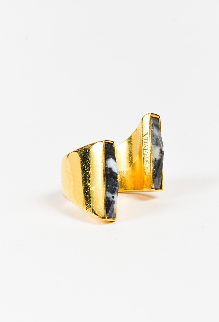 """24K Gold Plated Double Onyx Stone Open """"Lia"""" Ring"""