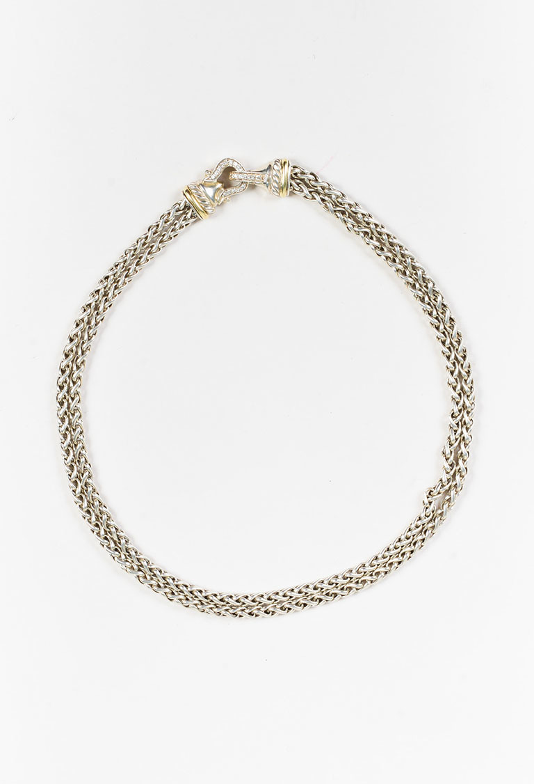 Sterling Silver 18K Yellow Gold Diamond Cable Buckle Necklace