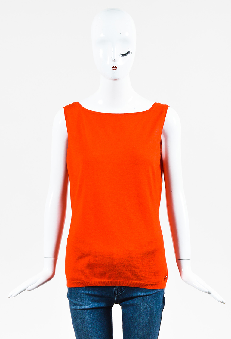 Red Knit Low Back Sleeveless Top