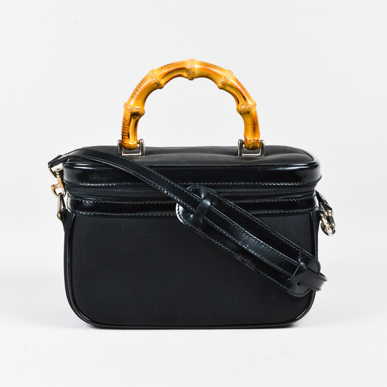 VINTAGE Gucci Black Canvas Patent Leather Trim Bamboo Handle Vanity - How to create paypal invoice gucci outlet online store authentic