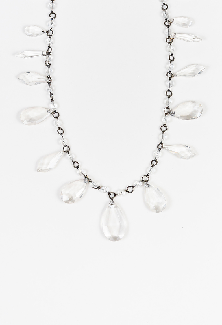 Rhodium Tone Clear Acrylic Bead Single Strand Necklace