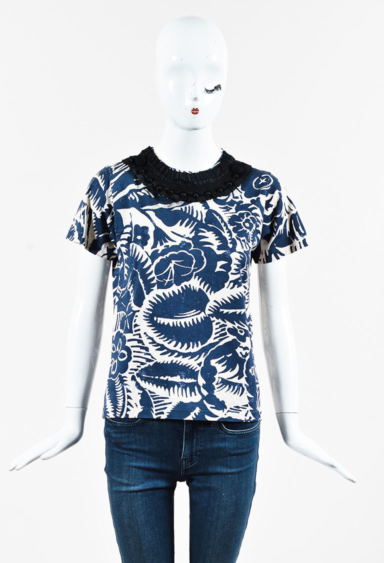Blue & Cream Printed Short Sleeve T Shirt