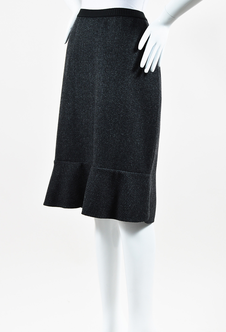 Grey & Black Wool Flounce Skirt