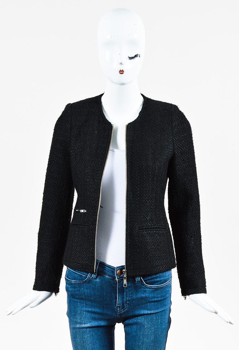 Black Wool Blend Tweed Zip Up Jacket