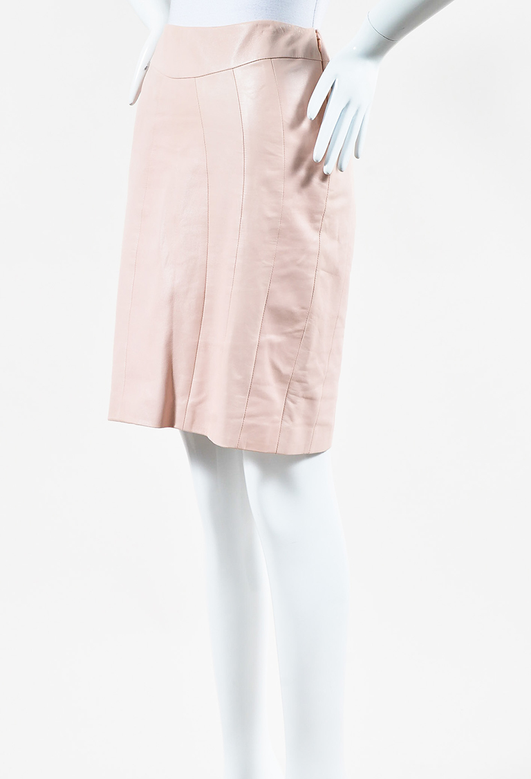 Light Pink Leather Paneled Pencil Skirt