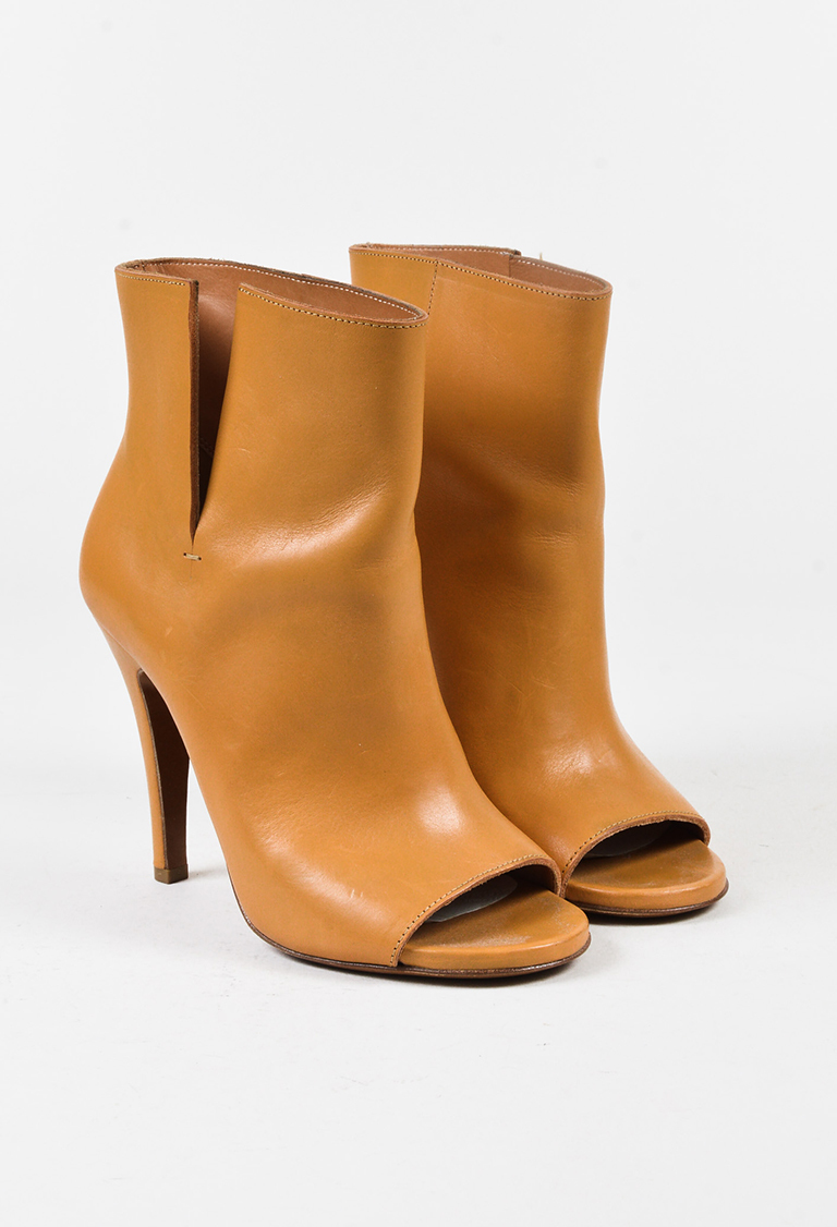 Tan Leather Cut Out Peep Toe Booties