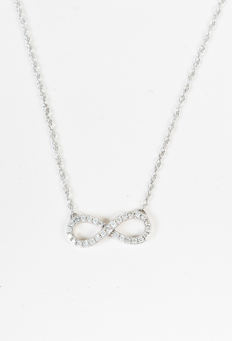 14K White Gold Embellished Infinity Pendant Woven Chain Necklace