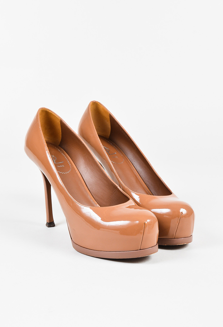 "Yves  Brown Patent Leather Platform ""Tribtoo"" 80 MM Pumps"