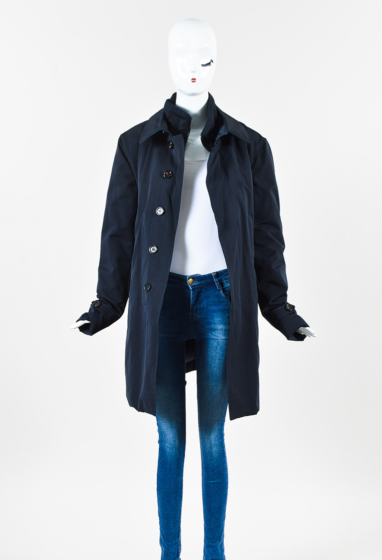 Navy Cotton Blend Layered Down Collared Coat