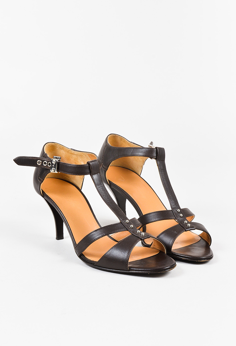 Dark Brown Leather Double T Strap Heeled Sandals