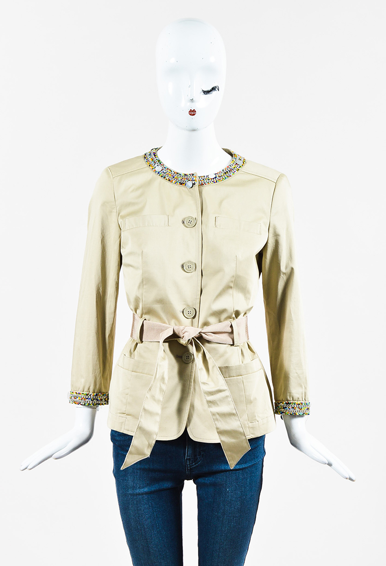 Love  Beige Cotton Blend Multi Embellished Belted Jacket