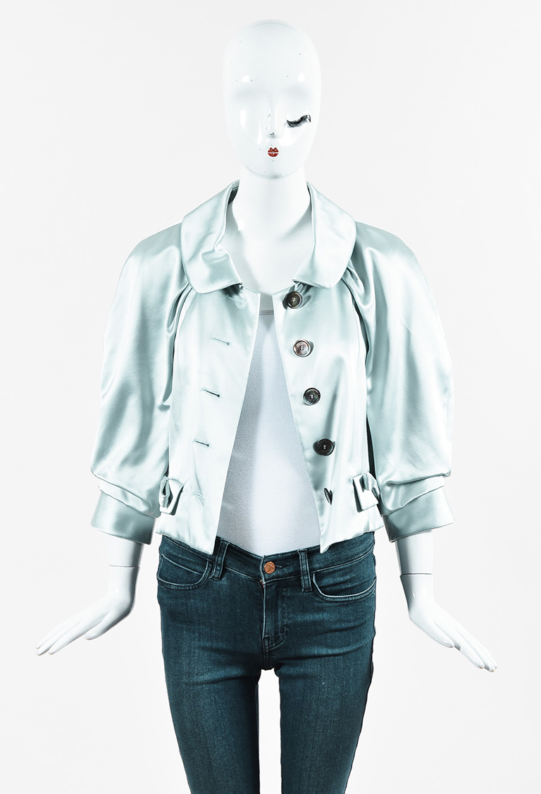Light Blue Satin Bow Accent Ruched Sleeve Jacket