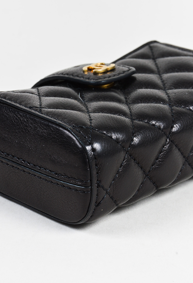 Chanel Black Lambskin Leather Quilted Pearl Shoulder Strap