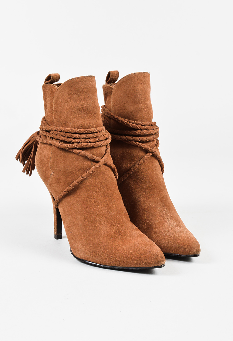 Brown Suede Pointed Toe Wrap Tassel Strap Heeled Ankle Boots