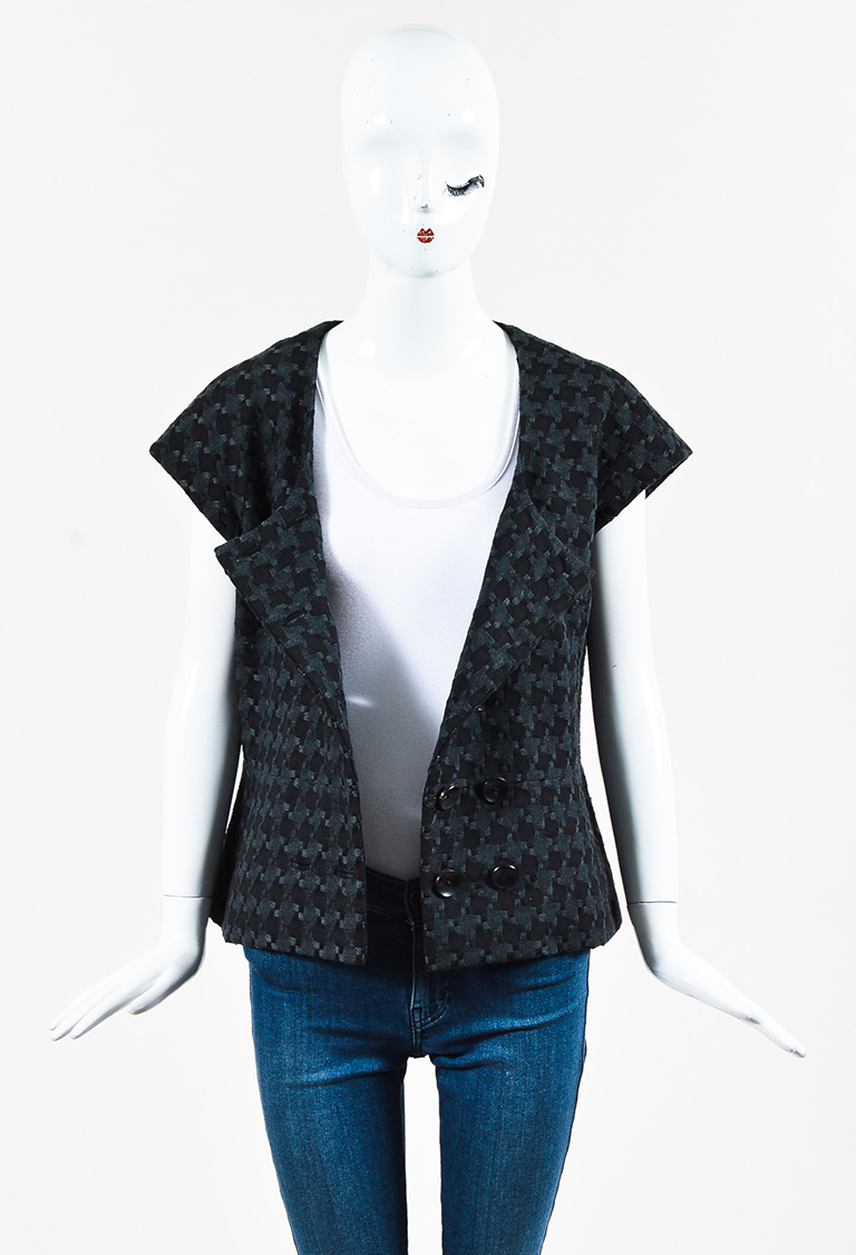 Gray & Black Short Sleeve Double Breasted Jacket
