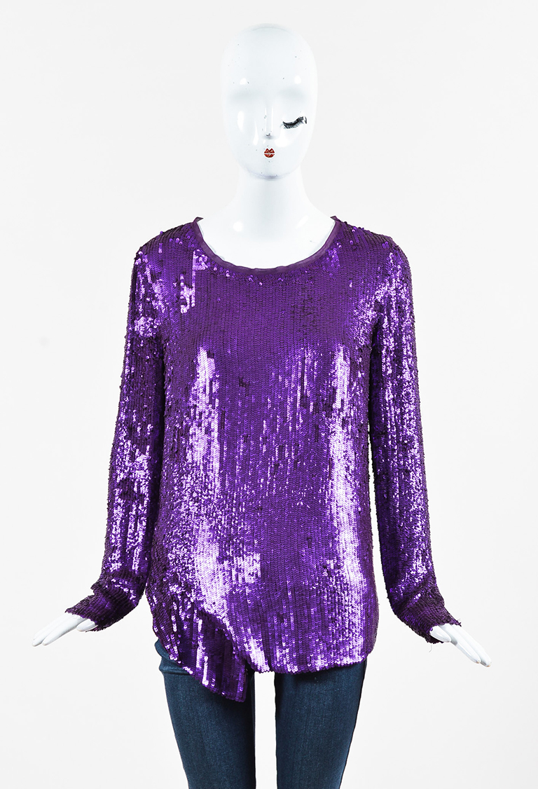 Purple Silk Sequin EmbelLong Sleeve Blouse Top