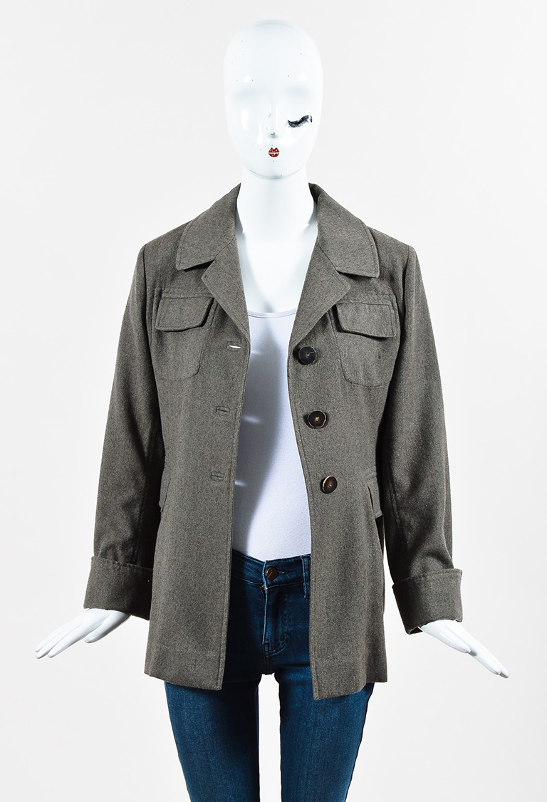 Grey Wool Long Buttoned Jacket