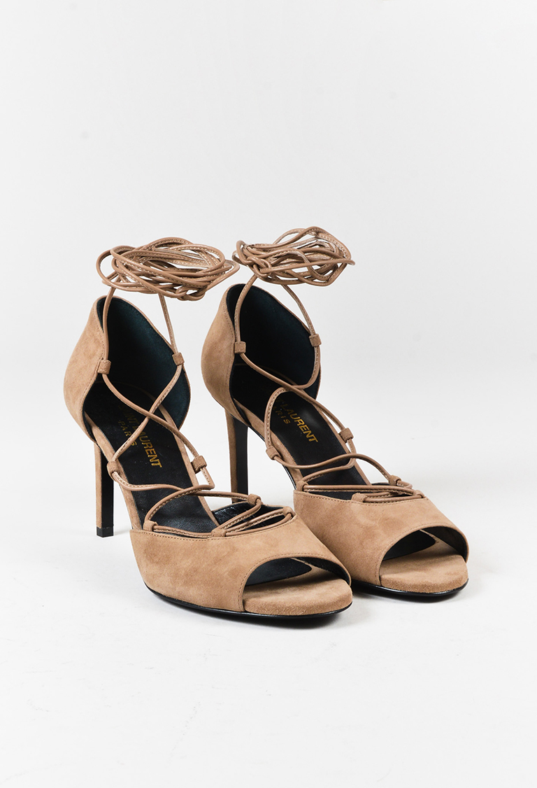 """Chamois"" Beige Suede Lace Up Peep Toe Sandals"