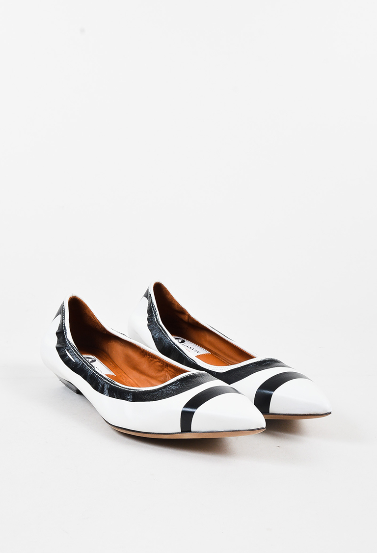 White Black Leather Printed Pointy Toe Ballerina Flats