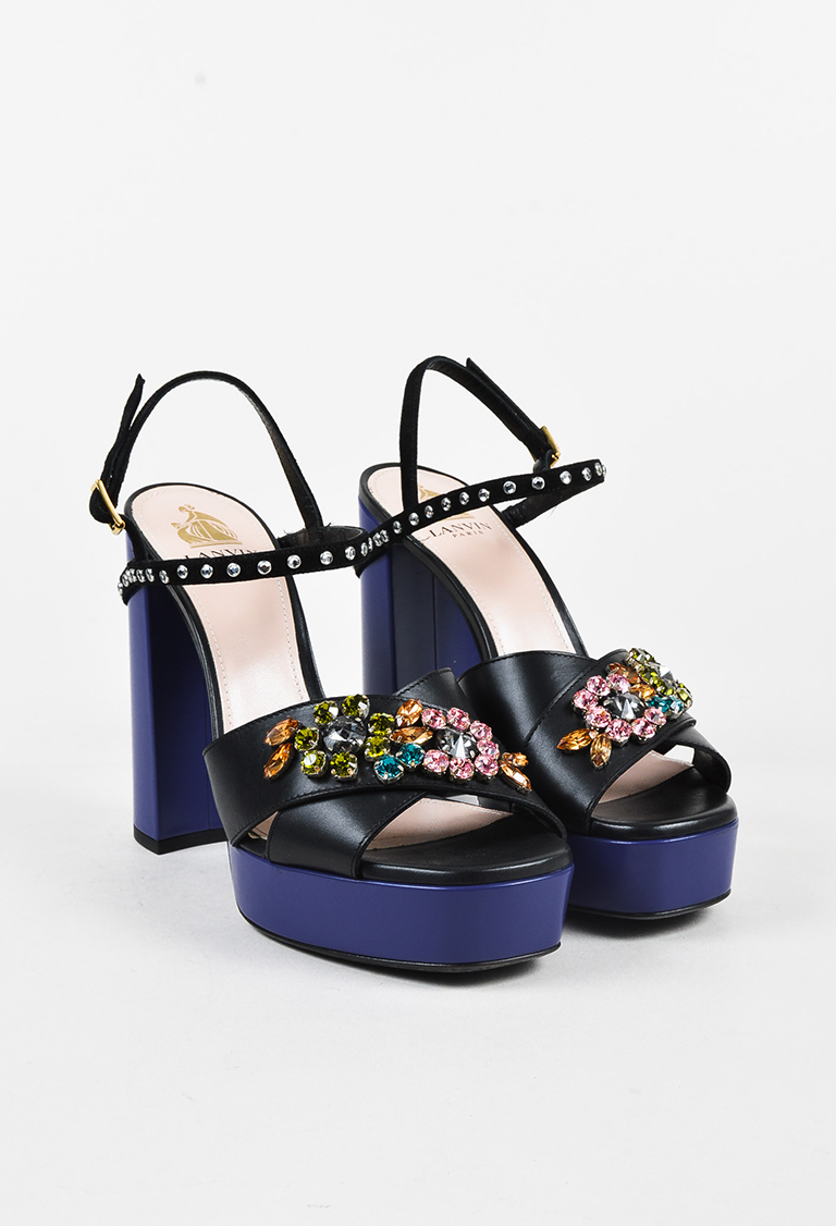 Black Cobalt Leather Jewel Toe Platform Sandals