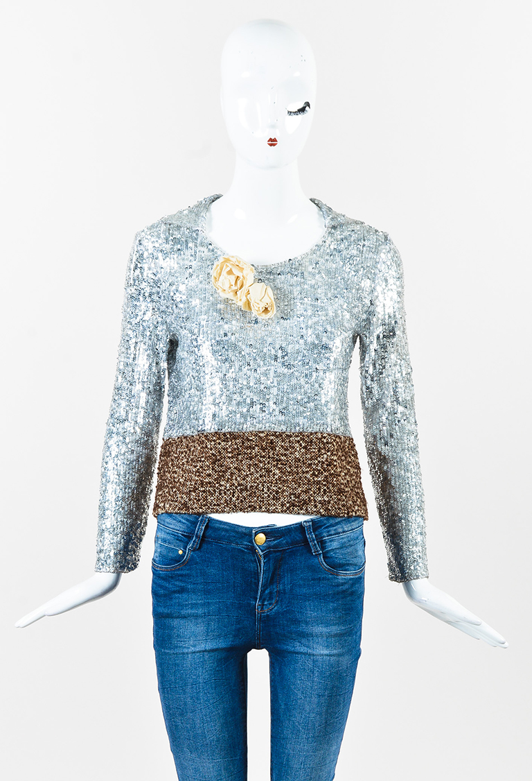 Silver Nylon Sequin Embellished Brown Tweed Hem Long Sleeve Top