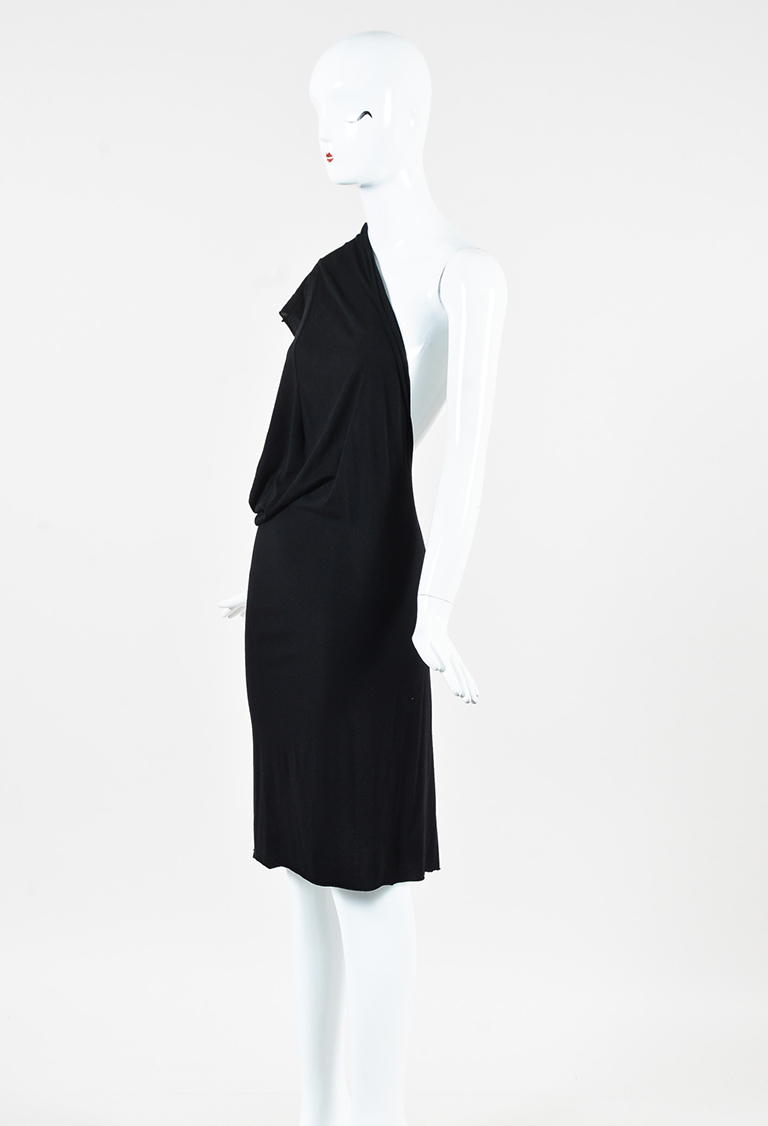 Lilies Black Jersey Knit Draped One Sleeve Dress