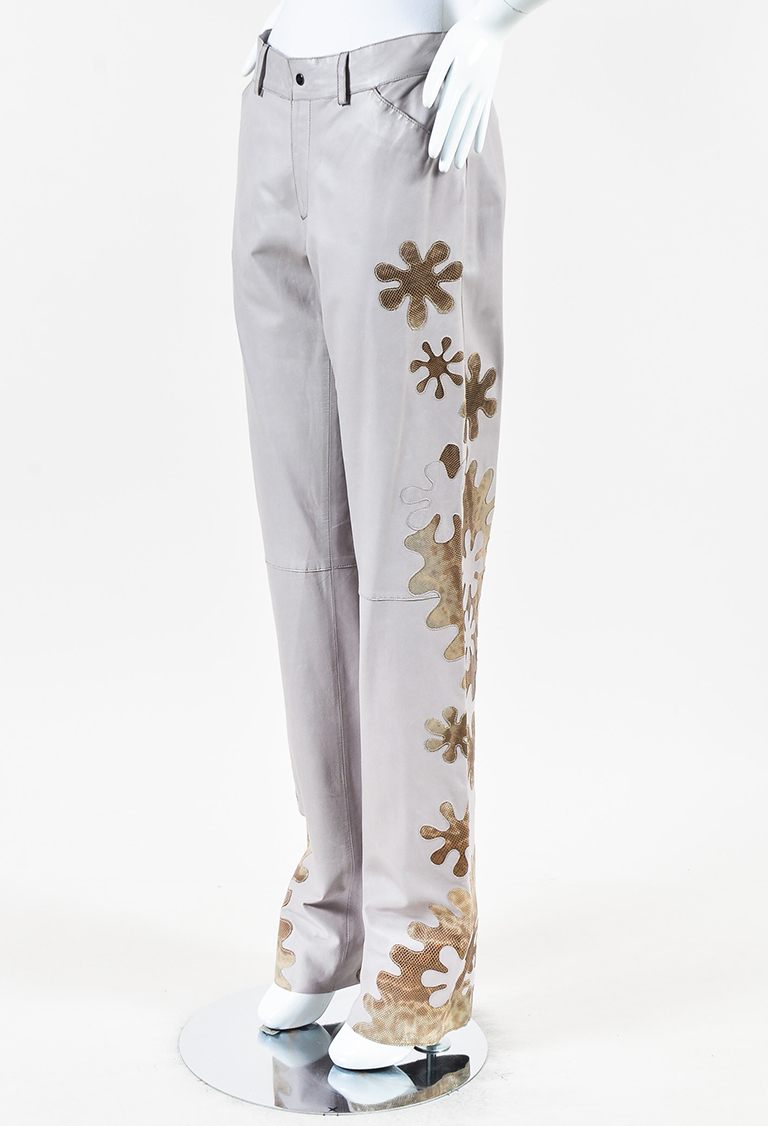 Taupe Brown Leather Floral Snakeskin Paneled Pants