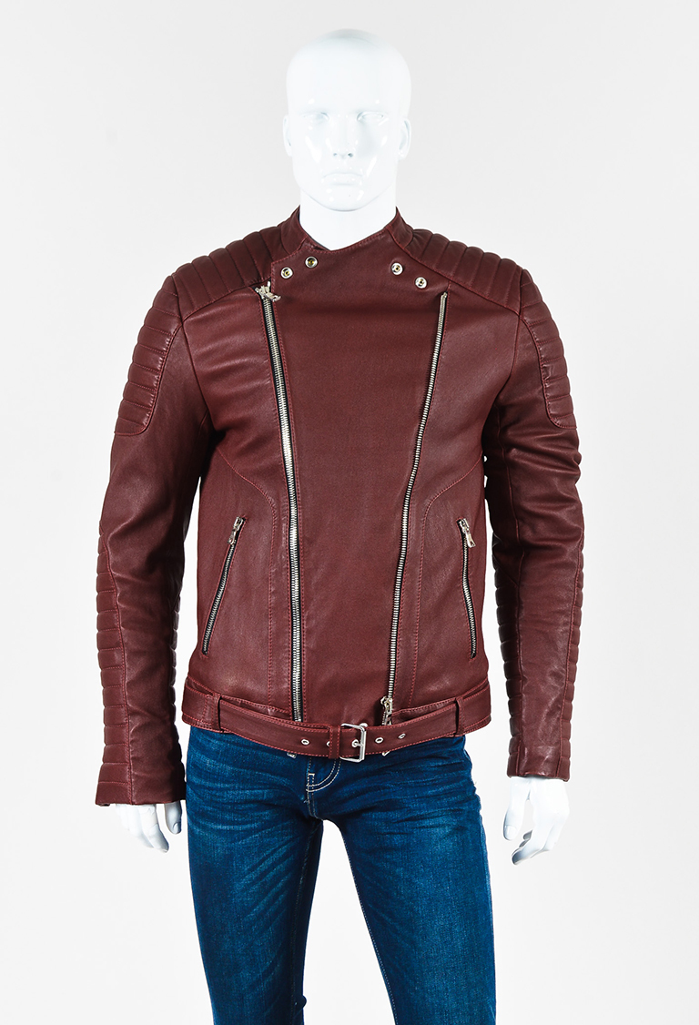 Men's Dark Red Leather Quilted Long Sleeve Moto Jacket