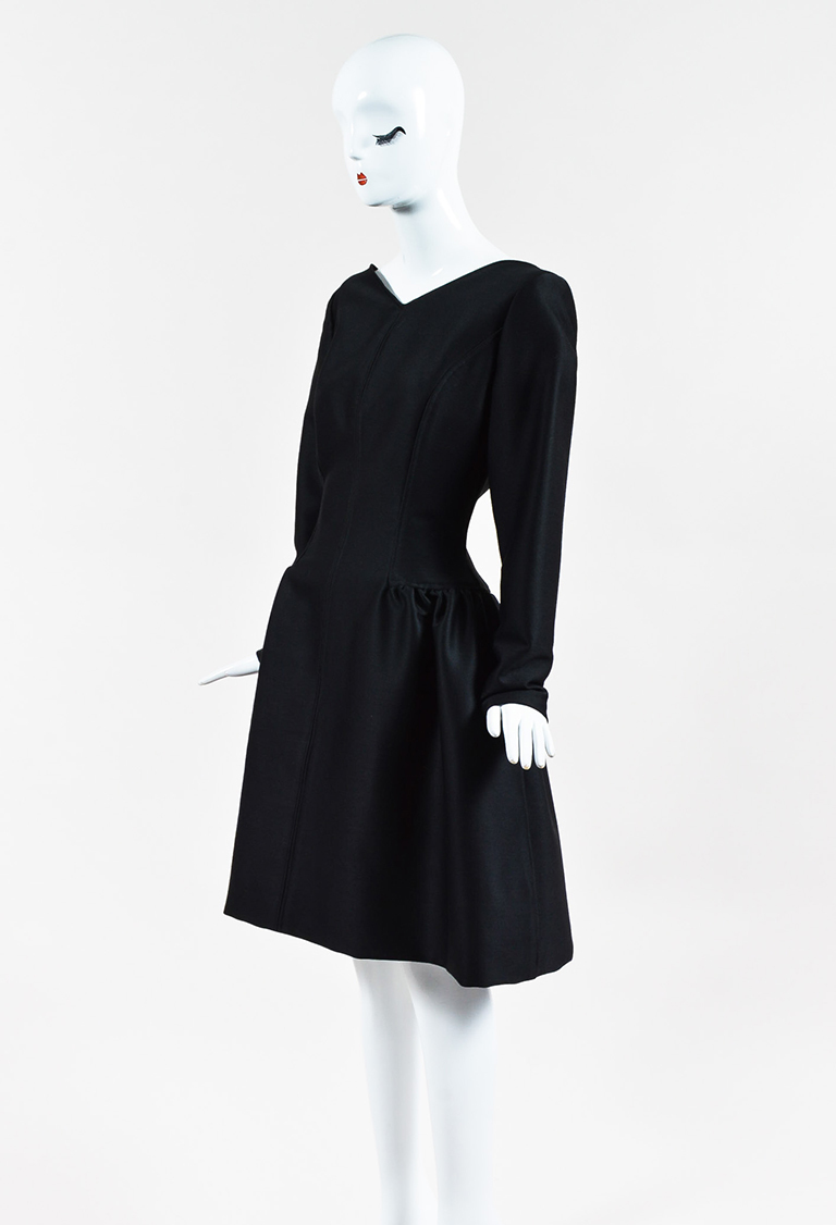 Black Long Sleeve Flared V Neck Dress