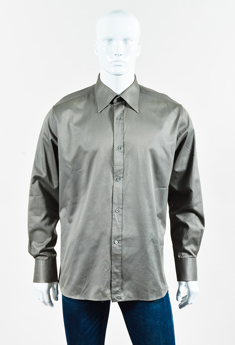 Men's Light Olive Green Collared Button Up Shirt