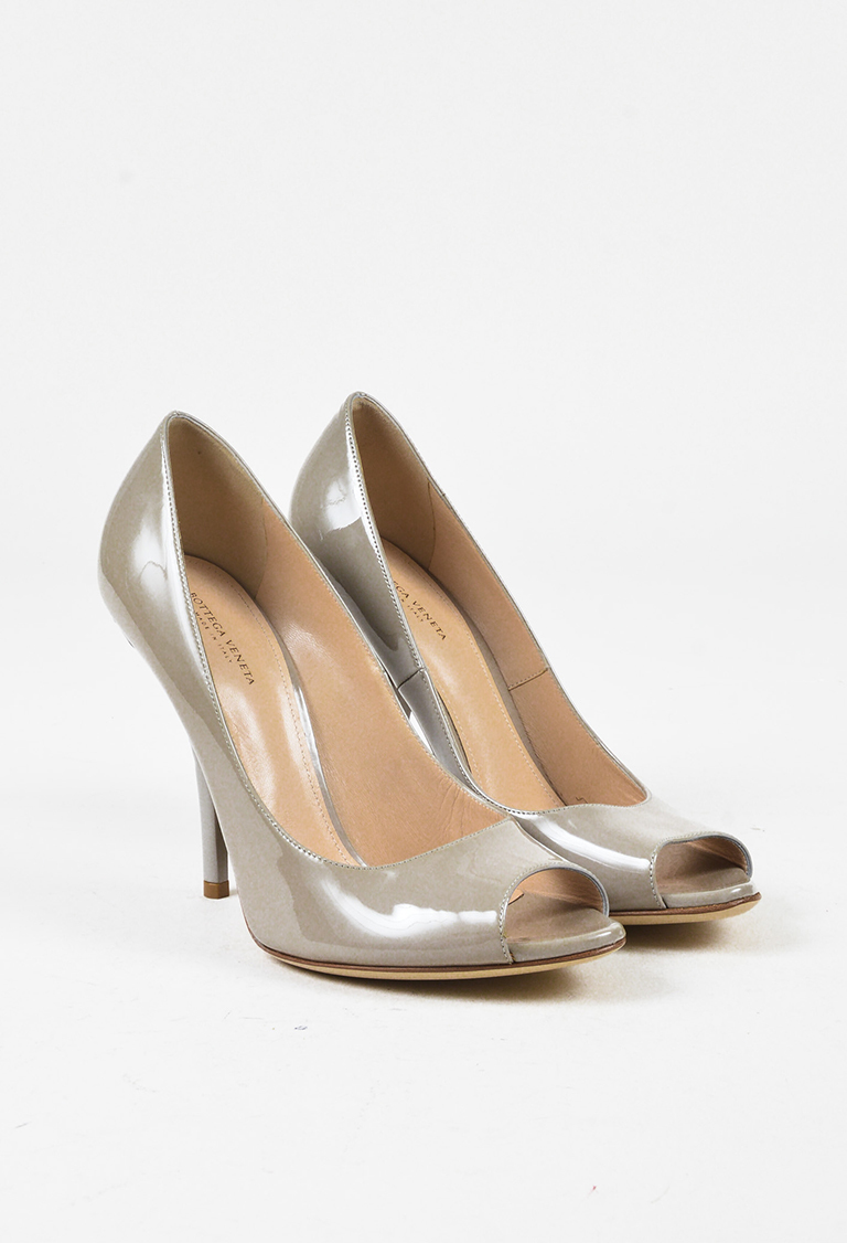 Grey Patent Leather Intrecciato Woven Heel Pumps