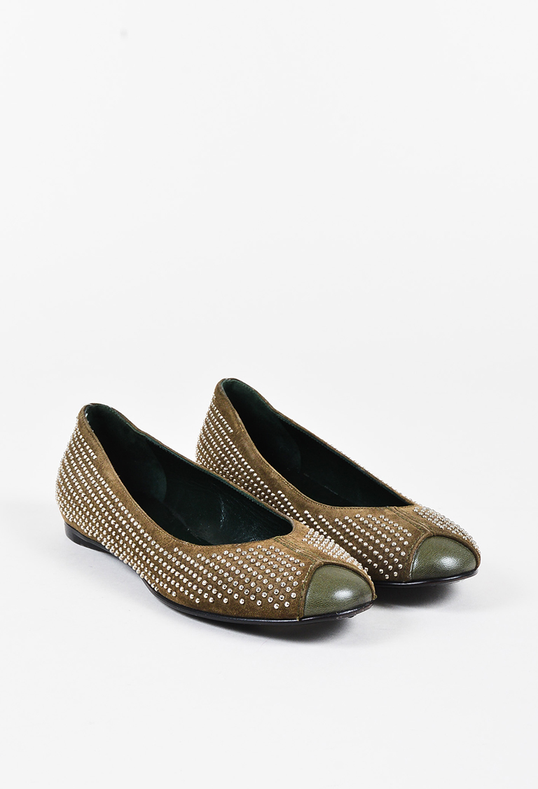 Olive Green Suede Leather Studded Ballet Flats