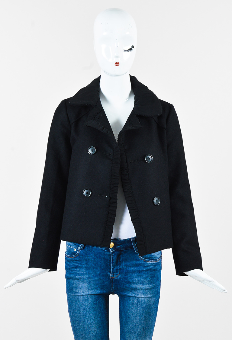 Black Wool Gathered Trim Double Breasted Jacket