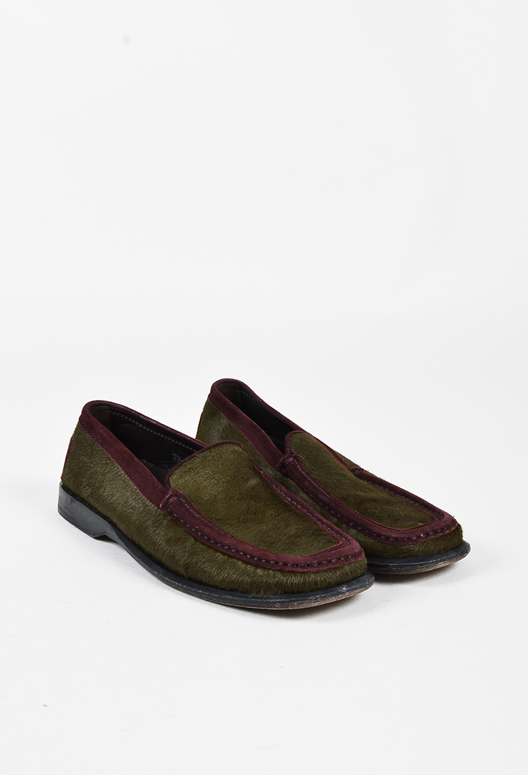 Olive Green Burgundy Pony Hair Suede Trim Driving Loafers