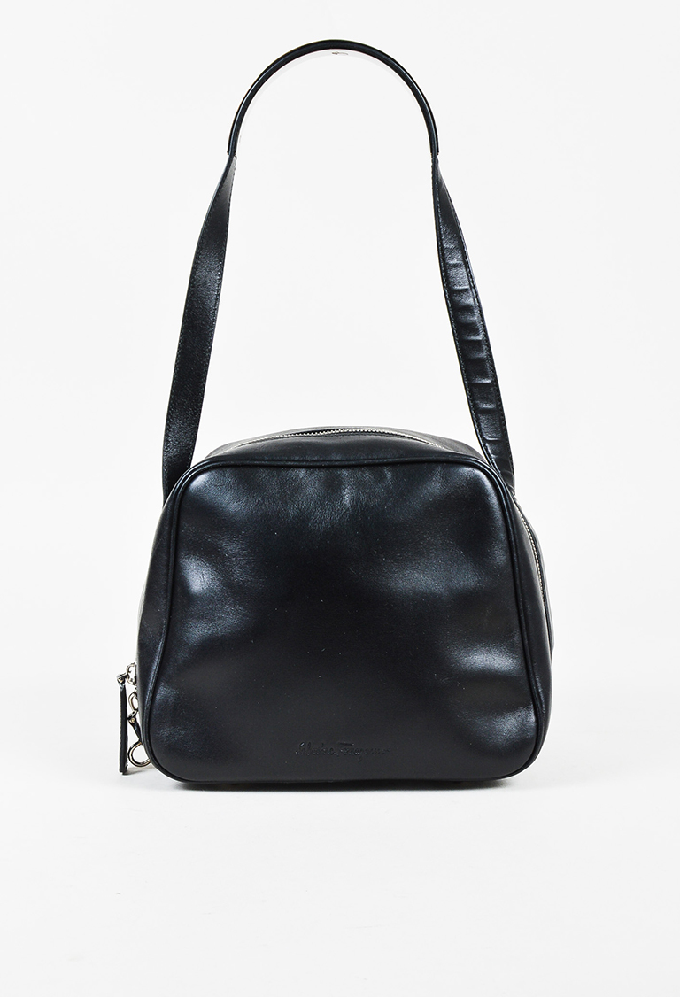 Black Leather Zip Around Shoulder Bag