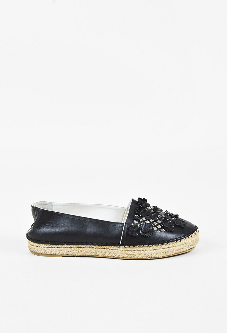 Black Leather Laser Cut Floral Espadrille Flats